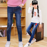 Girls jeans foreign style spring 2019 new big children Korean version of the girl spring and autumn casual children plus velvet pants