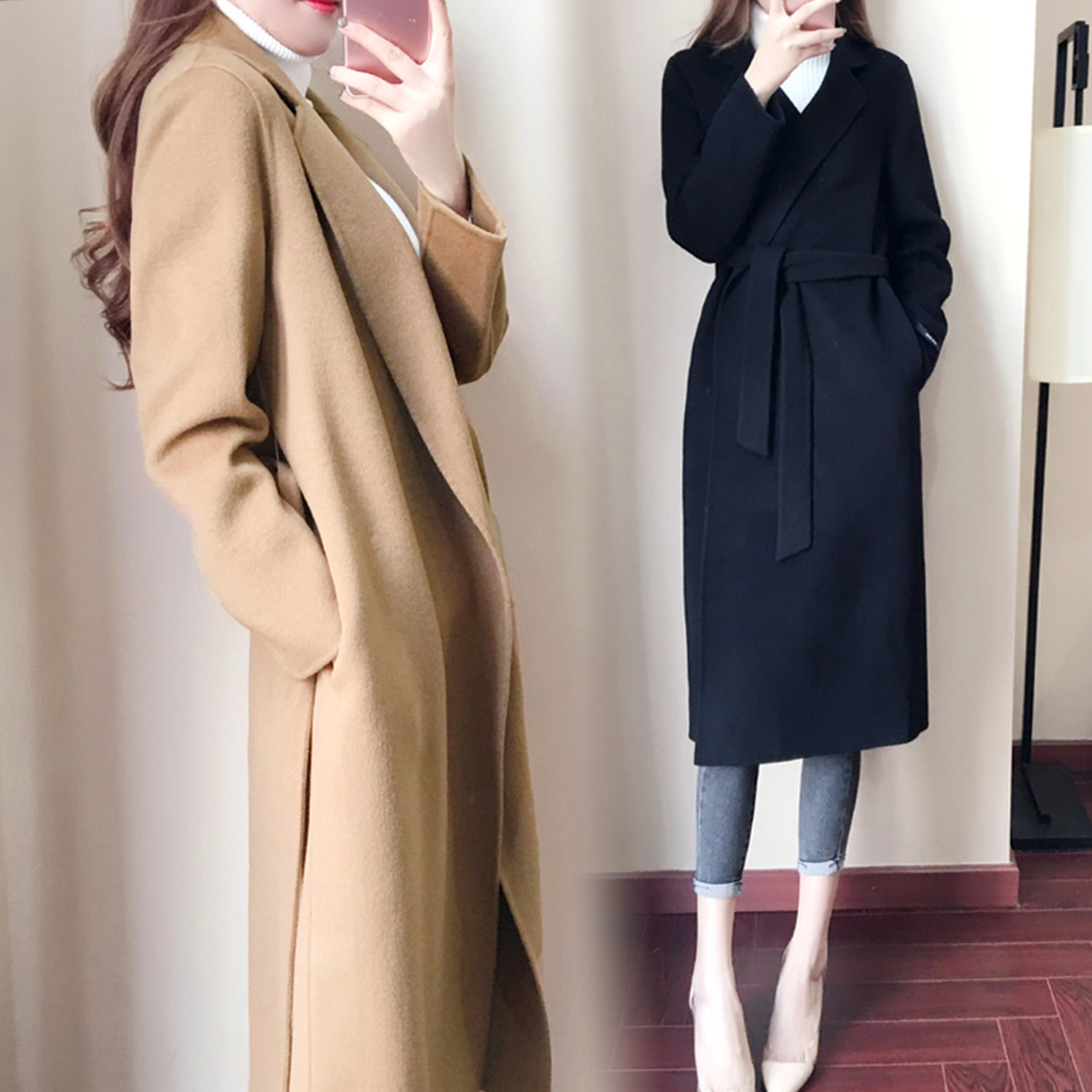 黑色修身呢大衣