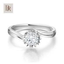 DR DarryRing 雪花款正品1克拉钻石戒指女式白18K求婚结婚钻戒