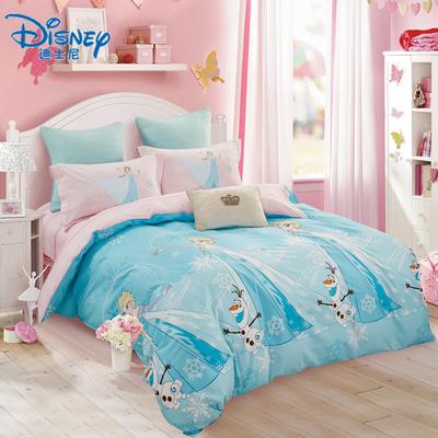 迪士尼纯棉公主风四件套全棉卡通儿童床单被套单人床上三件套