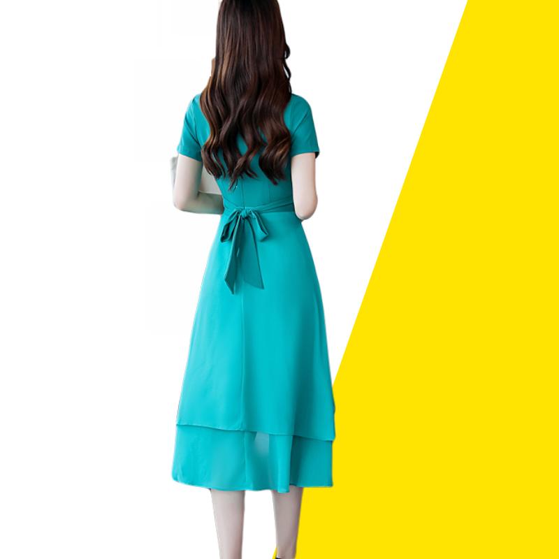 2019夏季新品气质不规则雪纺中长裙燕尾荷叶边高腰韩版短袖连衣裙