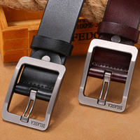 Leather men's leather pin buckle men's pure leather middle-aged wide belt Korean version of business casual youth trend belt
