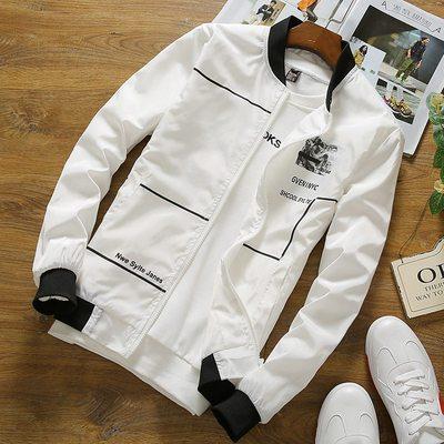 春秋新款男士休闲外套韩版修身立领夹克衫潮流青年棒球领外衣开衫