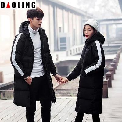 情侣大衣一男女春秋外套韩版学生有帽子的中性条纹一条杠过膝棉衣