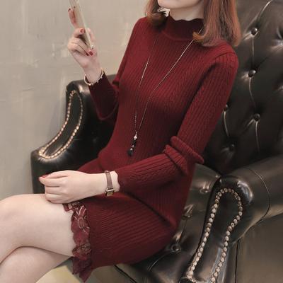 加绒毛衣女士2018新款韩版中长款打底衫长袖秋冬百搭时尚加厚潮