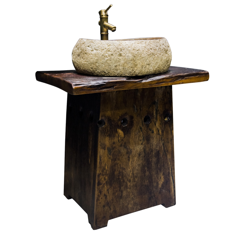 老船木洗手盆一体卫生间浴室柜组合实木仿古户外鹅卵石洗漱台家用