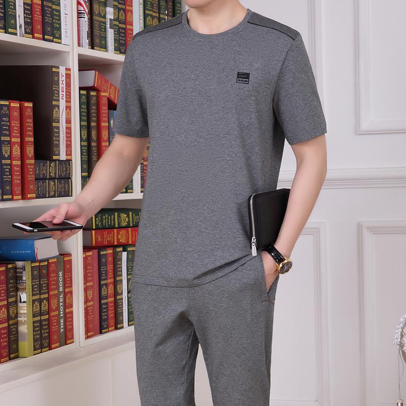 夏季休闲运动套装男短袖长裤运动装两件套中老年薄款运动服套装男