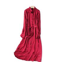 春夏女大码重磅真丝连衣裙双绉桑蚕丝风衣中长款开衫A字裙宽松