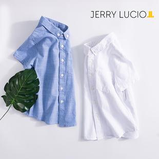 杰瑞乐咖男童衬衫短袖2018夏季新款中大童男孩衬衣儿童白衬衫纯棉