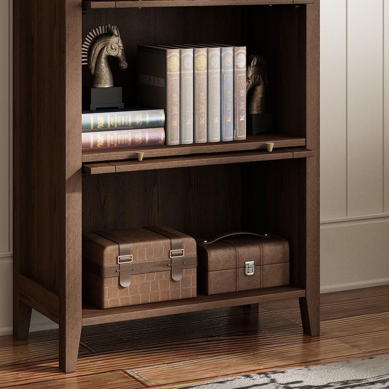开尚 美式简约书柜家用办公带门多层书柜胡桃色储物柜北欧置物柜