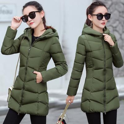 冬装新款韩版棉服女中长款修身显瘦棉袄2017新款女装羽绒棉衣外套