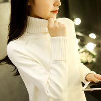 High neck sweater women's autumn and winter new 2018 Korean version of the loose hooded students inside the knit bottoming shirt thickening wild