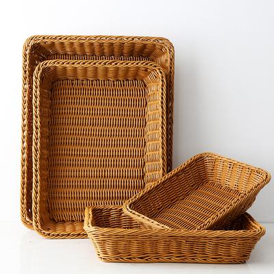 面包篮蔬菜筐超市陈列展示筐PP胶藤篮仿藤编收纳筐长方形筐咖啡色