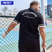 AMAPO潮牌大码男装夏季polo加大码拉链衣领潮胖子宽松短袖Polo衫