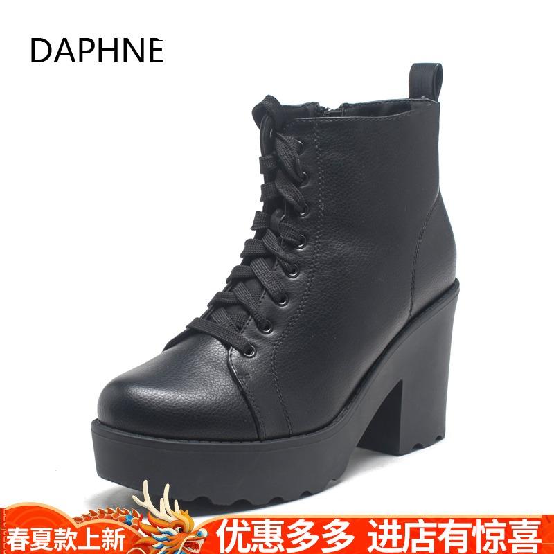 Daphne/达芙妮冬季新款女鞋 圆头保暖系带高粗跟短靴1515608063