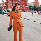 VJE Autumn Dress New Fashion Professional Dress Shows Slim Temperament Small Suit with Slim Broad Legs and Long Pants Two-piece Set