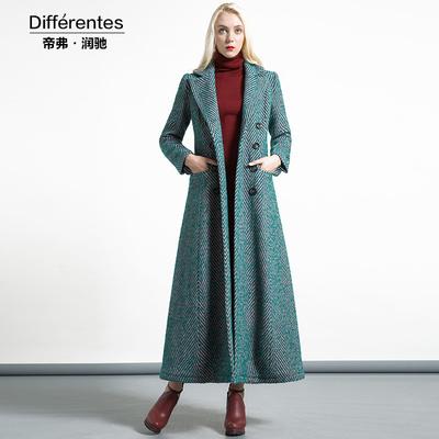 帝弗润驰 冬季原创设计女装长款加厚条纹修身羊毛毛呢大衣外套女