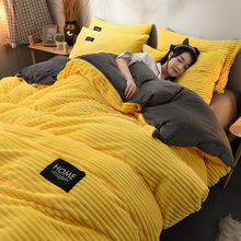 Reticulated Coral Velvet Four-piece Winter Flannel Thickening Thermal Lai Velvet Bedding 1.8m Bed Sheet Cover