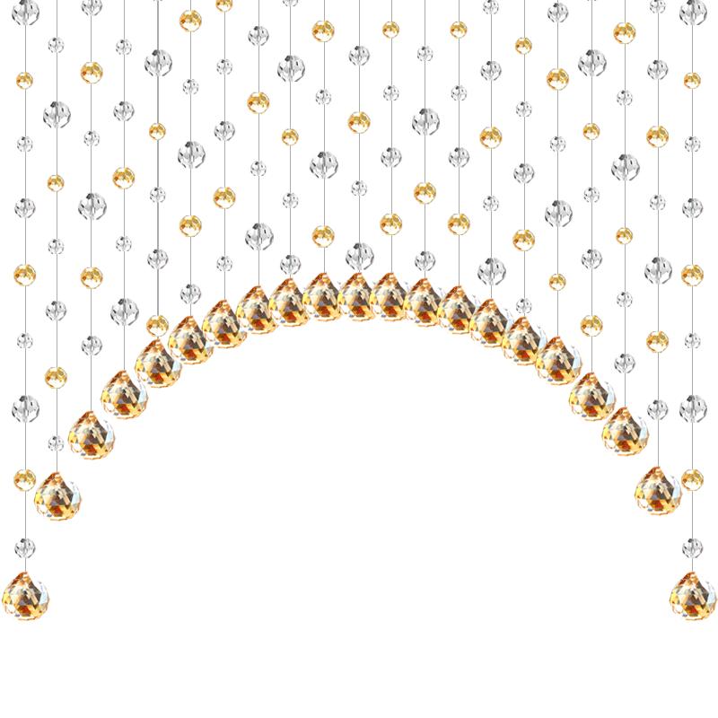 水晶珠帘装饰水晶帘子玄关隔断帘欧式客厅餐厅屏风软隔断成品挂帘