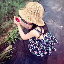儿童草帽女童遮阳沙滩帽防晒渔夫帽子韩国春夏海边度假手工编织帽