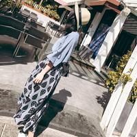 2018春夏新款雪纺衫时尚套装简约淑女半身裙休闲修身显瘦两件套