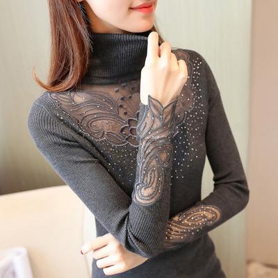 2018秋冬季新款针织蕾丝高领显瘦女毛衣修身短款打底衫时尚百搭潮