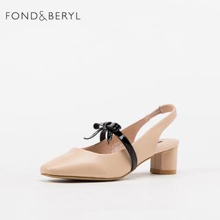 2019夏季高档品牌真皮女鞋粗跟尖头中跟黑色杏色包头凉鞋