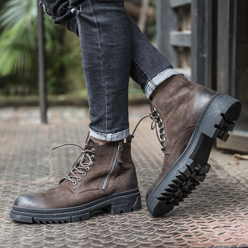 马丁靴男中帮复古军靴英伦风靴子男潮高帮冬季男鞋加绒真皮工装靴