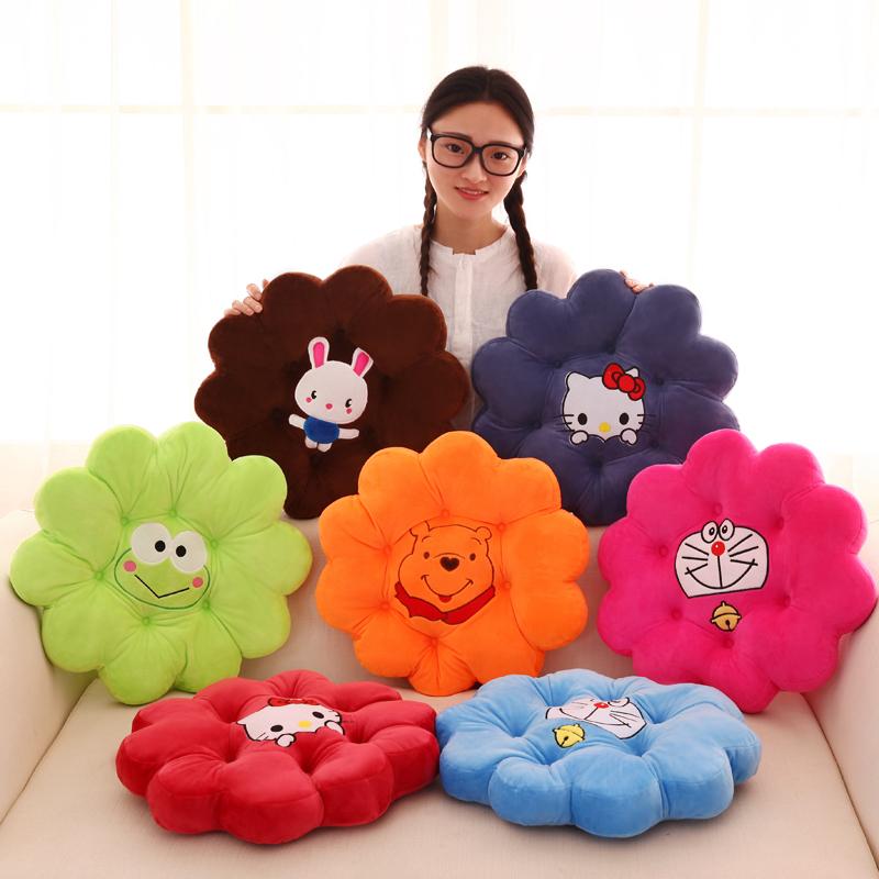 创意花朵圆形垫子靠垫卡通加厚毛绒凳子坐垫椅子垫办公室护腰靠枕