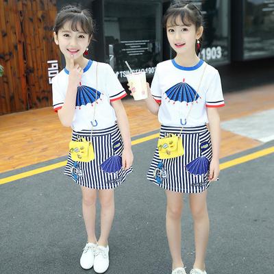 女童套装夏装 2018新款儿童夏季洋气韩版时尚中大童裙子两件套潮
