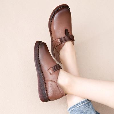 复古手工森系女鞋真皮软底百搭款平底民族风懒人单鞋厚底休闲皮鞋