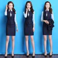 职业装女装套装气质面试正装修身西服马甲空姐制服美容师工作服女