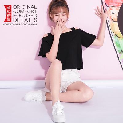 夏装2018新款心机婊露肩上衣女短袖一字领韩国性感宽松荷叶袖t恤