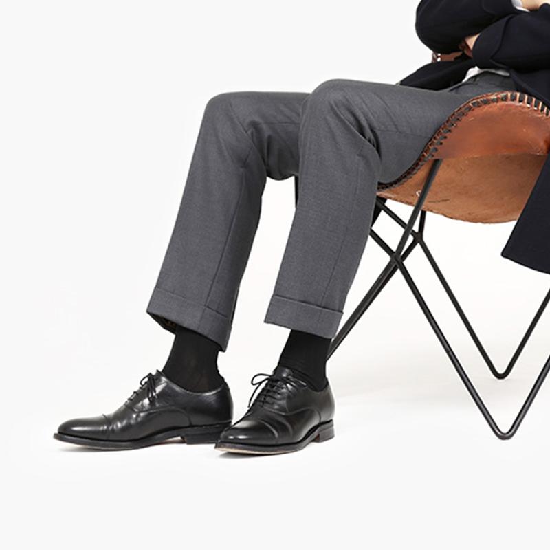 纯棉袜子男中筒袜夏薄款防臭正装商务皮鞋袜全棉黑色大码高筒长袜