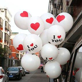婚庆房装饰布置婚特厚印爱心气球 情人节派对求婚浪漫气球装饰