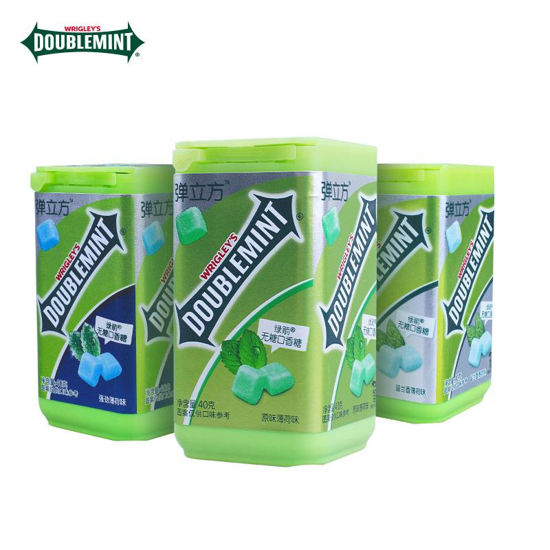 绿箭弹立方40g*3瓶无糖口香糖原味/强劲/留兰香薄荷味清新口气