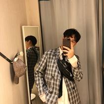 大赖自制/18夏 格子套西男西服帅气休闲外套短裤套装韩版夏季薄款