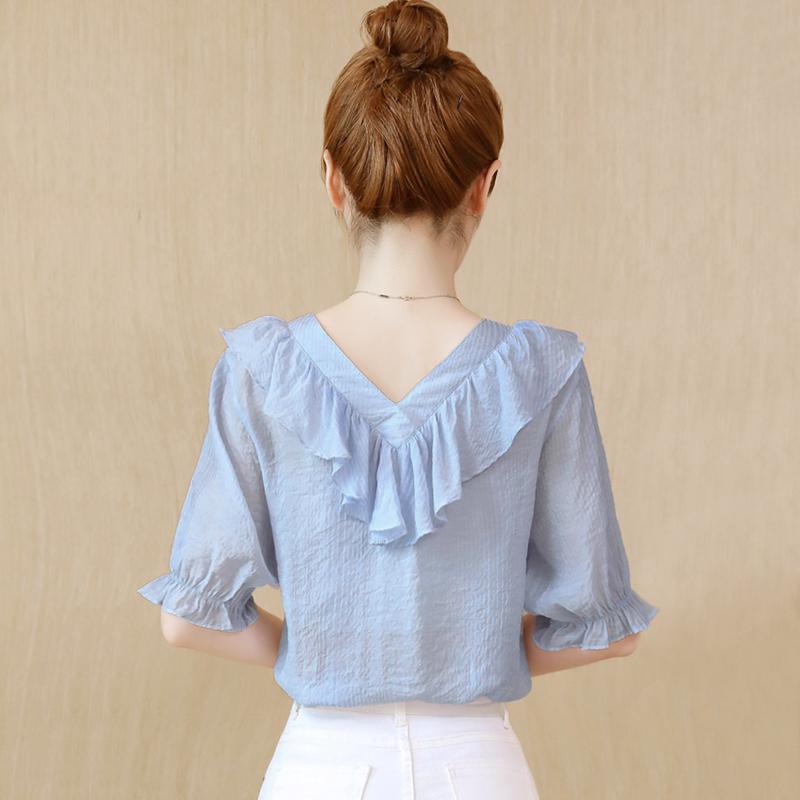 韩版短袖雪纺女衬衫