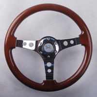 (14 inch with side mahogany steering wheel) imported Nanmu racing steering wheel modified luxury car steering wheel