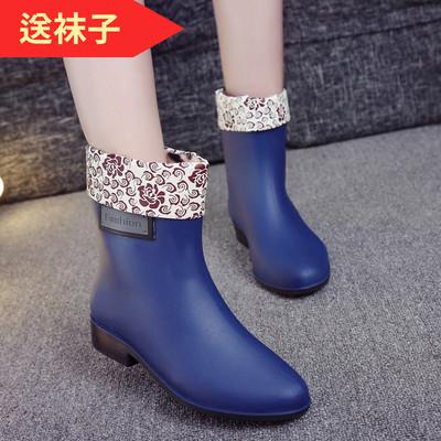 时尚中筒雨天雨鞋女加绒韩国百搭女士秋冬加棉防滑水鞋厨房雨靴