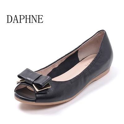 Daphne/达芙妮春季新款真皮蝴蝶结圆头平底鱼嘴女单鞋1016102020