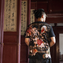 Six New China Wind-blown Heavy Industries in Three Provinces in Summer Full of Goldfish Flower Embroidery Men's Large Short-sleeved T-shirts
