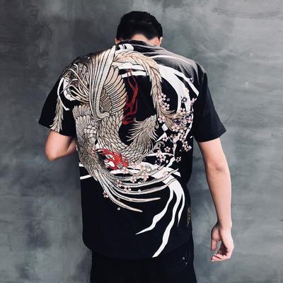 国潮三省六部原创夏季中国风重工刺绣朱雀樱花大码男士短袖T恤