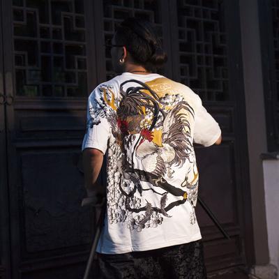夏季原创奉天承運出品男女情侣款圆领短袖T恤 浮世绘公鸡刺绣