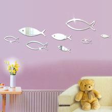 8条小鱼镜面墙贴客厅卧室电视背景墙装饰贴画酒店KTV墙饰贴创意帖