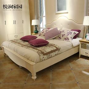 美式实木床皮床高箱1.8米1.5米欧式婚床现代简约公主床主卧双人床
