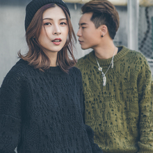 Hole sweater male 2018 new loose student thick sweater sweater winter Korean couple sweater
