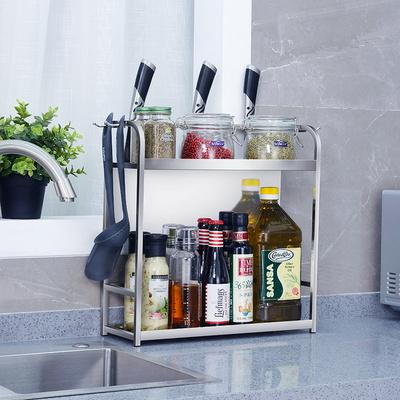 304不锈钢厨房置物架用品用具小百货刀具收纳双层调味调料架子