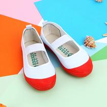 室内鞋小白鞋幼儿园体操鞋中大童舞蹈鞋男女白球鞋白网鞋帆布鞋