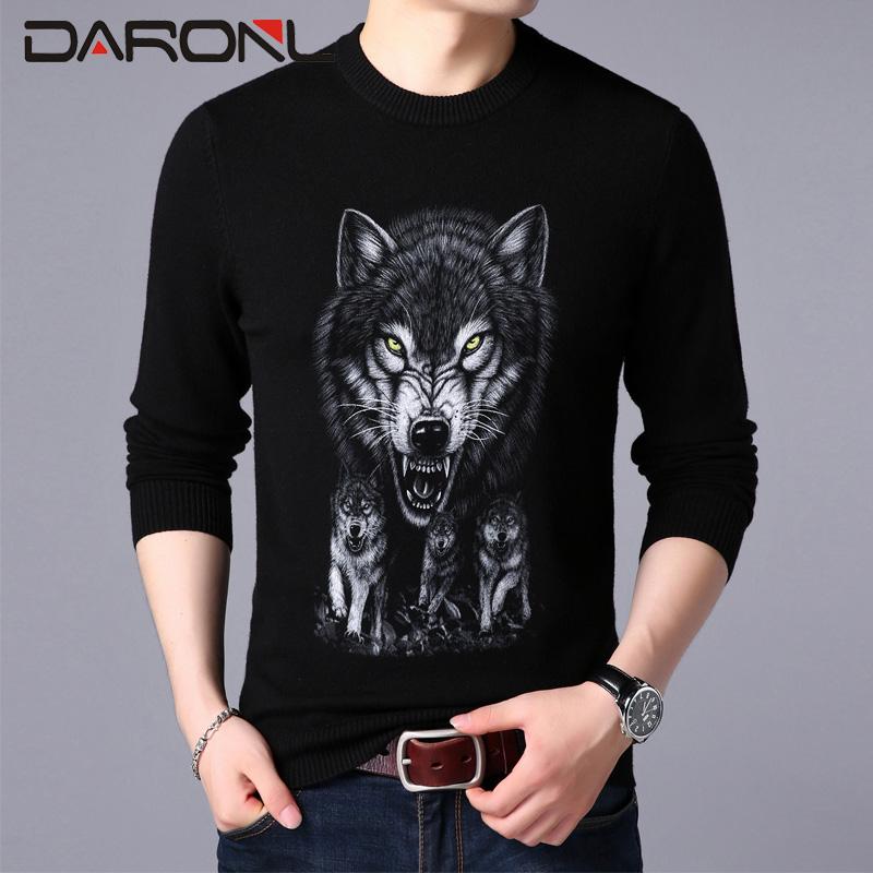 潮流冬天衣服中青年动物图案毛衣花花公子利郎同款 T恤男时尚 长袖